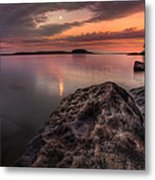 2 Mile Point Sunset And Moonrise Metal Print