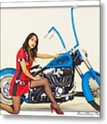 Models And Motorcycles Metal Print