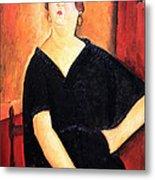 Modigliani's Madame Amedee -- Woman With Cigarette Metal Print