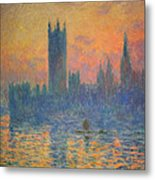 Monet's The Houses Of Parliament At Sunset Metal Print