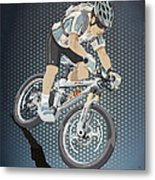 Mountainbike Sports Action Grunge Color Metal Print