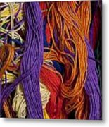 Multicolored Embroidery Thread Mixed Up  Metal Print