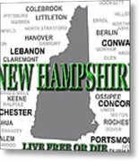 New Hampshire State Pride Map Silhouette  Metal Print
