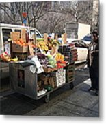 New York Street Vendor Metal Print by Frank Romeo