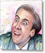 Nicolas Cage You Don't Say Watercolor Portrait Metal Print