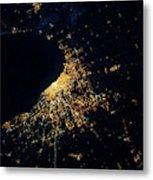 Night Time Satellite Image Of Chicago Metal Print
