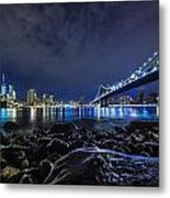 Night View To Manhattan Metal Print