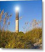 Oak Island Southport North Carolina Lighthouse Through The Cassw Metal Print