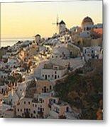 Oia At Sunset Santorini Cyclades Greece  Metal Print