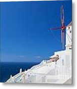 Oia Town On Santorini Island Greece Metal Print