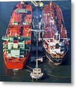 Oil Tankers Docked At Oil Pier, Down Metal Print