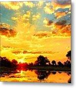 Okavango Delta Sunset Metal Print
