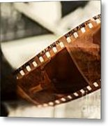 Old Film Strip And Photos Background Metal Print