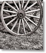 Old Wagon Wheel On Cart Metal Print