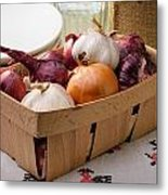 Onions And Garlic In A Crate Metal Print