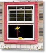 Open Window With Yellow Flower In Vase Metal Print