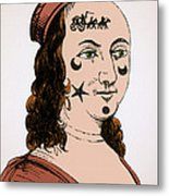 Ornamental Patches On Face 17th Century Metal Print