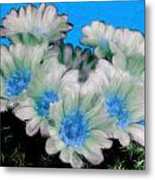 Painterly Cactus Flowers Metal Print