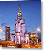 Palace Of Culture And Science At Dusk In Warsaw Metal Print by Artur Bogacki