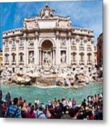 Panoramic View Of Fontana Di Trevi In Rome Metal Print