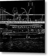 Pencil - Colorful River Cruise Boat In Singapore Next To A Bridge Metal Print