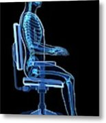 Person Sitting With Incorrect Posture Metal Print