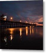Pier In The Pacific Ocean At Dusk, San Metal Print