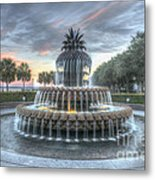 Majestic Sunset In Waterfront Park Metal Print