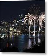 Pittsburgh Fireworks At Night Metal Print