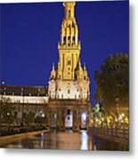 Plaza De Espana Tower In Seville Metal Print