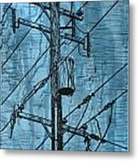 Pole With Transformer Metal Print
