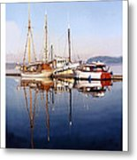 Port Orchard Marina Reflections Metal Print