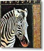 Portrait Of A Zebra Metal Print