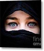 Portrait Of Beautiful Woman With Blue Eyes Wearing Black Scarf Metal Print