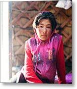 Portrait Of Young Kyrgyz Girl Inside A Yurt China Metal Print