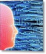 Printed Circuit Board And Wireframe Head Metal Print