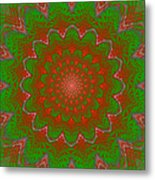 Psychedelic Spiral Vortex Green And Red Fractal Flame Metal Print