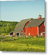 Red Barn And Fence On Farm In Maine Metal Print