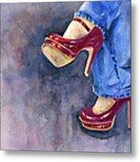 Red Heels And Jeans Metal Print