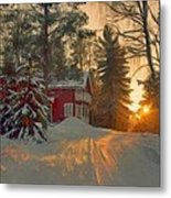 Red House In The Winter Metal Print