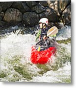 Red Whitewater Kayak Metal Print