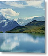 Reflection Of Clouds And Mountain Metal Print
