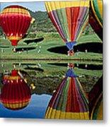 Reflection Of Hot Air Balloons Metal Print