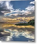 Silver And Blue Metal Print