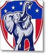 Republican Elephant Mascot Usa Flag Metal Print