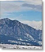 Rocky Mountains Flatirons And Longs Peak Panorama Boulder Metal Print