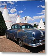 Route 66 Wigwam Motel And Classic Car Metal Print