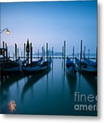 Row Of Gondolas At Sunrise Venice Italy Metal Print