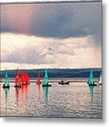 Sailing On Marine Lake A Reflection Metal Print