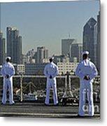 Sailors Man The Rails Aboard Metal Print